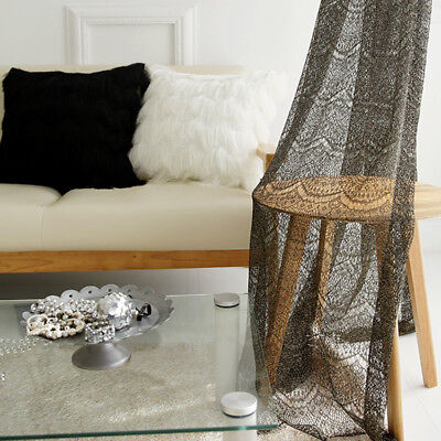 Shiny Golden Black Lace Sheer Curtain Panel Handmade Sheers