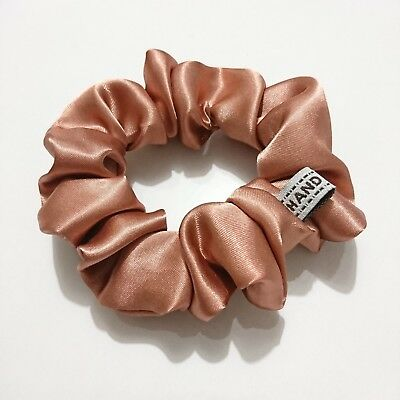 Bronze brown satin fabric hair scrunchies party dance costume hair tie ponytail