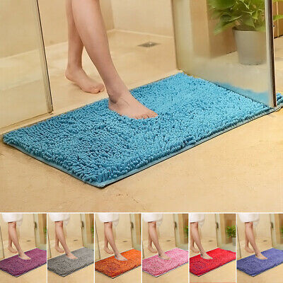 Microfibre Bath Mat Non Slip Rug Bathmat Toilet Shower Bathroom Shaggy Non Slip
