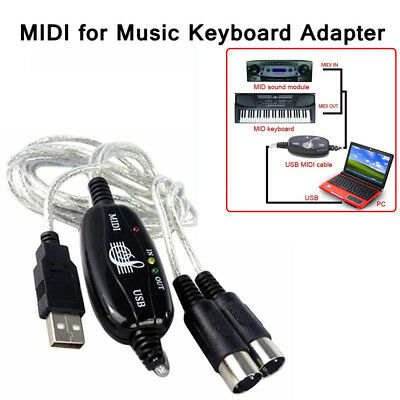 1Pc MIDI to USB In-Out Interface Edit Cable PC To Music Keyboard Adapter Cord