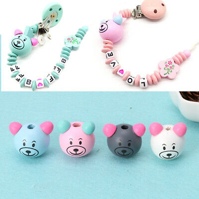 10pcs 25MM Wooden Bear Head Teething Chew Beads For Baby DIY Wood Pacifier Chain