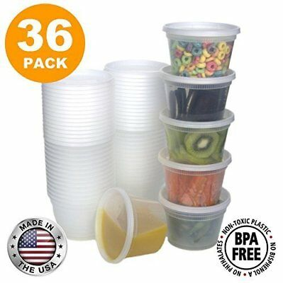 Food Storage Containers with Lids, Round Plastic Deli Cups, US Made, 16 oz