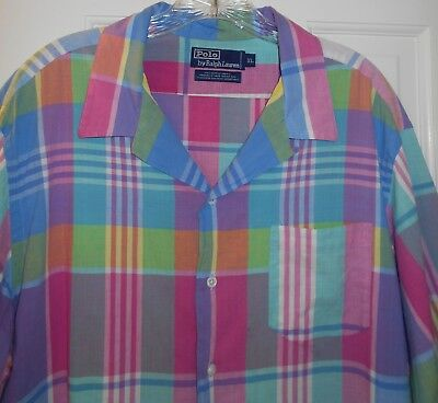 2a2176f107 Vtg 1980s Mens Ralph Lauren Polo Authentic Hand Woven Madras Plaid Shirt~XL