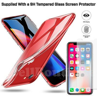 Transparent Clear Gel Case Plus Tempered Glass Protector For iPhone 5s 6s 7 8 X