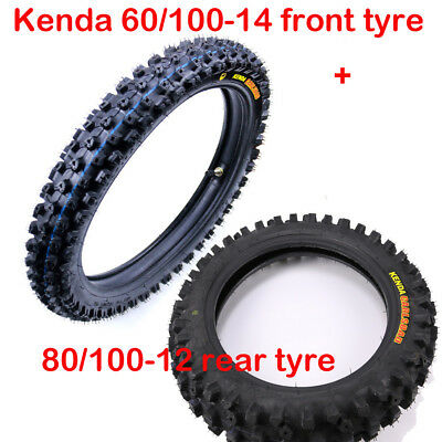 "Kenda 14"" Front  60/100 - 14 +12"" Rear  80/100 - 12 Knobby Tyre & Inner Tube Set"