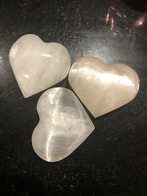 3 Mangano Calcite Crystal Heart From Peru - Hand Carved & Polished