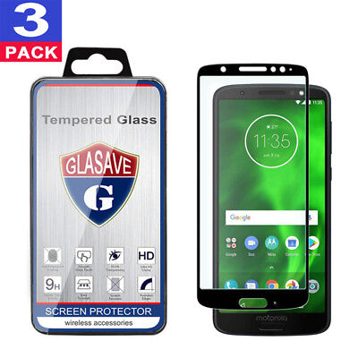 (3 Pack) GLASAVE FULL COVER Tempered Glass Screen Protector For Motorola MOTO G6