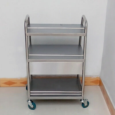 Hospital Medical Dental Lab Trolley Cart One Drawer 3 Layers Stainless Steel BMG