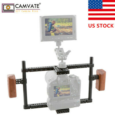 US CAMVATE Universal Camera Cage Wood Handle fr a7RII GH5 D800 D810 D850 EOS-1DC