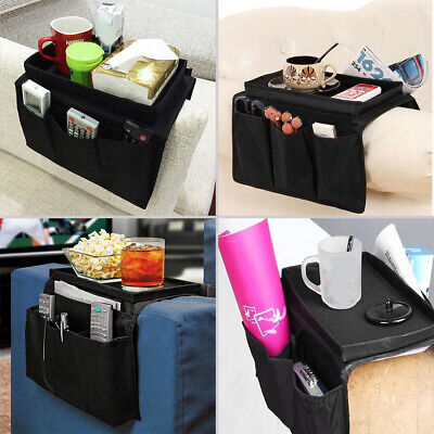 Sofa Chair Arm Rest 6 Pocket Organiser Couch Remote Control Storage Holder Tray