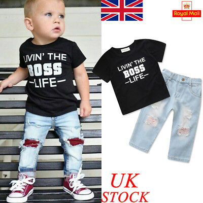 UK Baby Boys Summer BOSS T Shirt Jeans Pants Toddler Infant Outfits Kids Clothes
