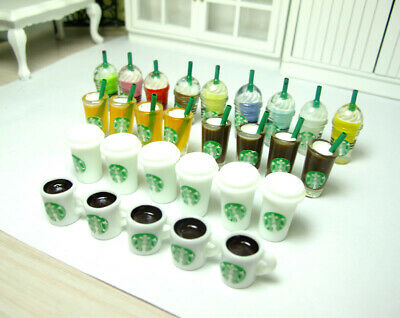 Dollhouse Miniature Starbucks Juice Mocha Coffee Cup Mug Bottle Food Drink 1/6