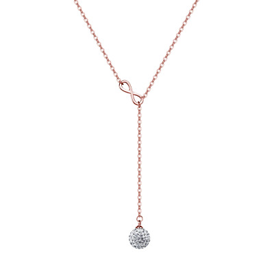 Rose Gold Infinity Necklace Created with Swarovski® Crystals by Philip Jones