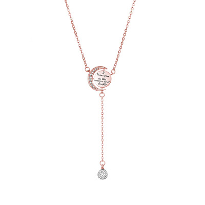 Rose Gold Moon and Back Necklace Created with Swarovski® Crystals by Philip Jone