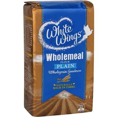 6x White Wings Plain Flour Wholemeal 1kg