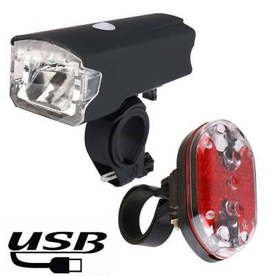 Bike Bicycle LED USB Rechargeable Front Light Red Rear Lamp with Holder set kit