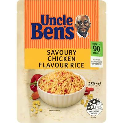 6x Uncle Bens Express Microwave Savoury Chicken Flavour Rice 250g