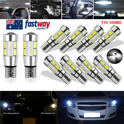 10PCS CANBUS T10 Wedge 10SMD Parker Number Plate LED Bulbs W5W 194 168 131 6000K