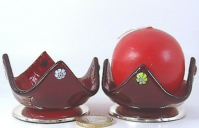 Portacandela Rosso Argento Murrina Murano Candeliere Silver Glass Candle Holder