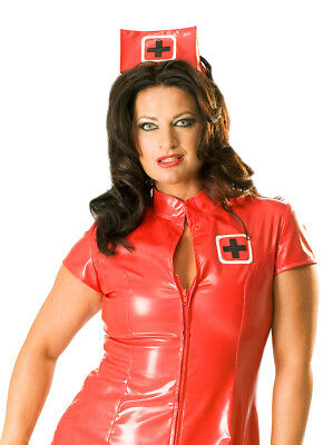 Honour Women's Sexy Nurse Dress Uniform in PVC Red Role Play Costume