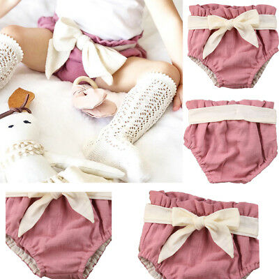 Bowknot Baby Girls Diaper Cover Ruffle Bloomers Summer PP Pants  Shorts Bottoms