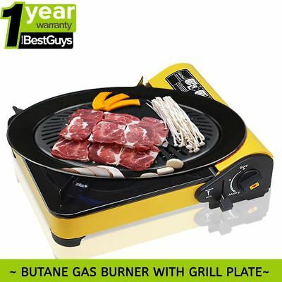 Portable Gas Stove Cooker Butane BBQ Camping Gas Burner W Grill Plate AU Yellow