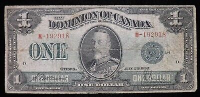 1923 Series M $1 Dominion of Canada Paper Note  Circulated  Replacement Note