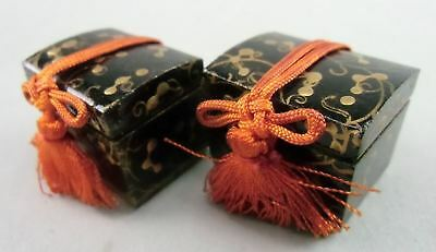 ID94 Japanese Hina Doll Miniature Chest Box Wood Black Lacquer Makie Furniture
