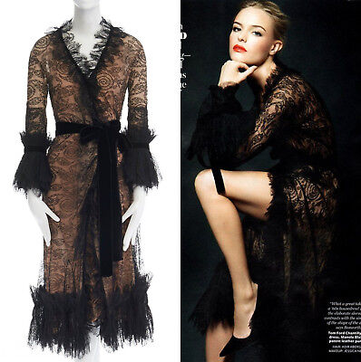 88a54e7766001 runway TOM FORD AW11 black lace pleated ruffle cuff velvet belted wrap dress  S