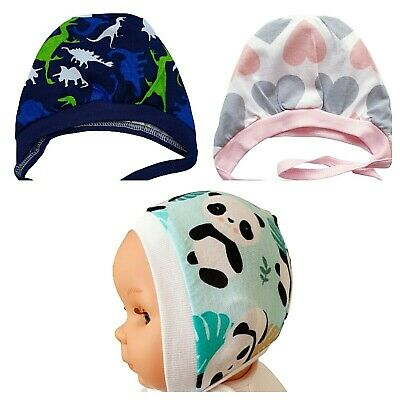 NEWBORN, 0-3, 3-6Months BABY HATS WITH LACES INSIDE OUT STITCHES 100%WARM COTTON