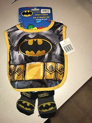 BRAND NEW - Batman Infant Caped Bib and Bootie Set (One Size Fits Most)