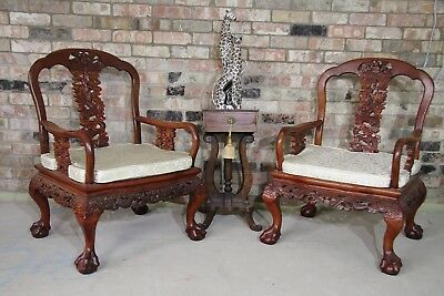 Stunning Pair Of Carved Chinese Hardwood/rosewood?? Dragon Chairs, Ball & Claw
