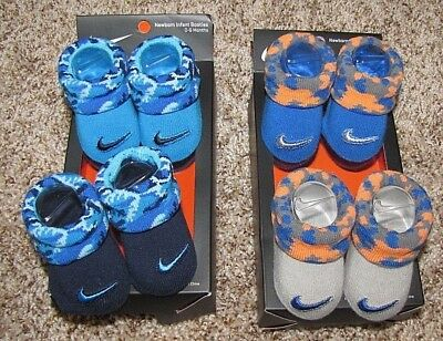 NIKE Baby Booties Camo Socks 0-6 Months Blue Gray
