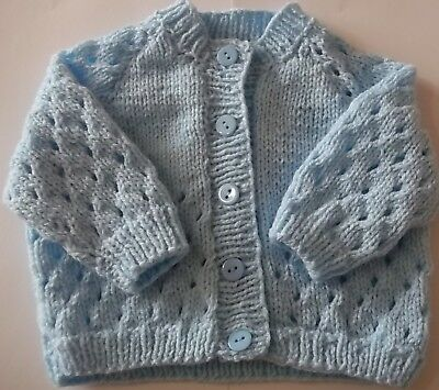 Hand Knit Babies Blue Patterned Cardigan Size 0/3 Months