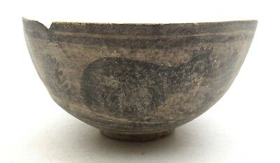 Indus Valley Terracotta Bowl W/ Bird - Ancient Rare Artifact Lovely - L555