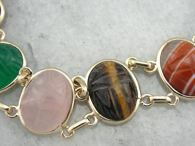 Carved Multi Stone Scarab Bracelet in Yellow Gold