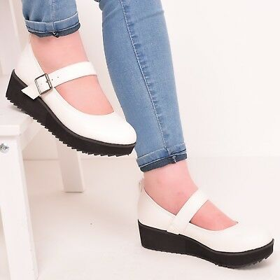 Ladies white wedge strap shoes platform ankle strap comfort work summer size