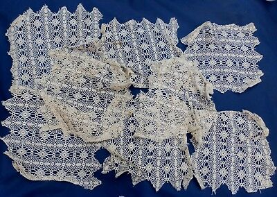"""VINTAGE eight lace small cloths 8"""" 20 cm square  with 2 mini doilies (VE50)"""