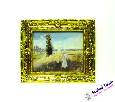 1:12 Dollhouse Miniature Golden Framed Art Wall Picture Oil Painting Home Decor