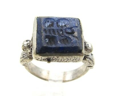 Post Medieval Silver Ring With Carved Intaglio Lapis Stone Butterfly  - D964