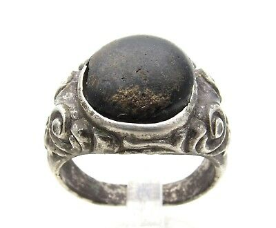Medieval Silver Ring W/ Black Stone - Wearable Historic Artifact Lovely - D965