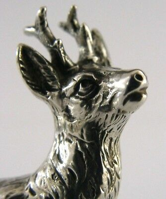 QUALITY SILVER ROE DEER STAG ANIMAL MINIATURE FIGURE c1920 ANTIQUE