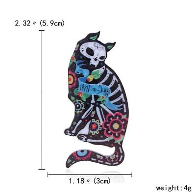 Goth BROOCH CAT DAY OF THE DEAD ART PIN BADGE KITTY ZOMBIE SKULL MEXICAN GOTHIC