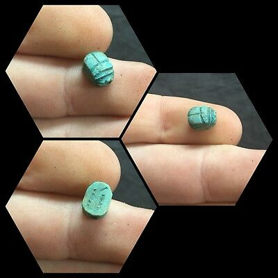 Ancient Egyptian Faience Scarab Beetle With Hieroglyphs, Middle Kingdom.