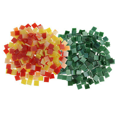 500pcs Square Glass Mosaic Tiles Vitreous for Art Craft Green Red Yellow