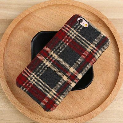 British Style Plaid Tartan Grid Fabric Hybrid Soft Case For iPhone X 8 6s 7 Plus