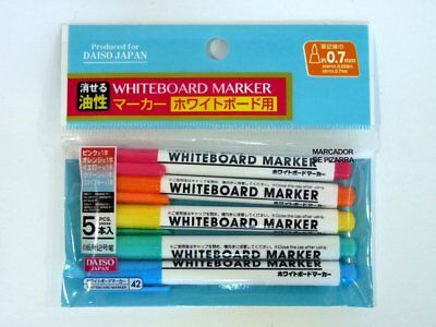 5-Pieces Whiteboard Dry Erasable Marker Pens , 0.7mm Fine Point, Assorted Colors