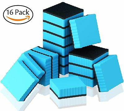 Hibery 16 Pack Magnetic Dry Whiteboard Eraser Square with Wave Edge - Magnetic W