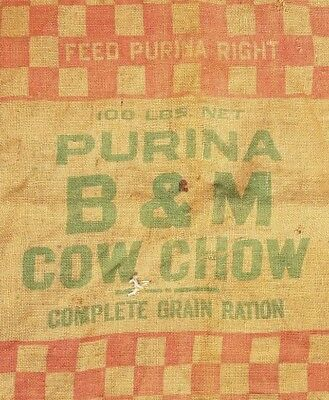 Feed Bag Purina Cow Chow Burlap Sack 100 lb B&M Agriculture Farm Advertising Red