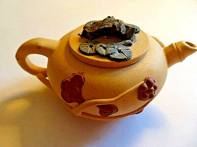 Vintage Yixing Mini Teapot - Pale Yellow Clay With Bamboo Design, Marked